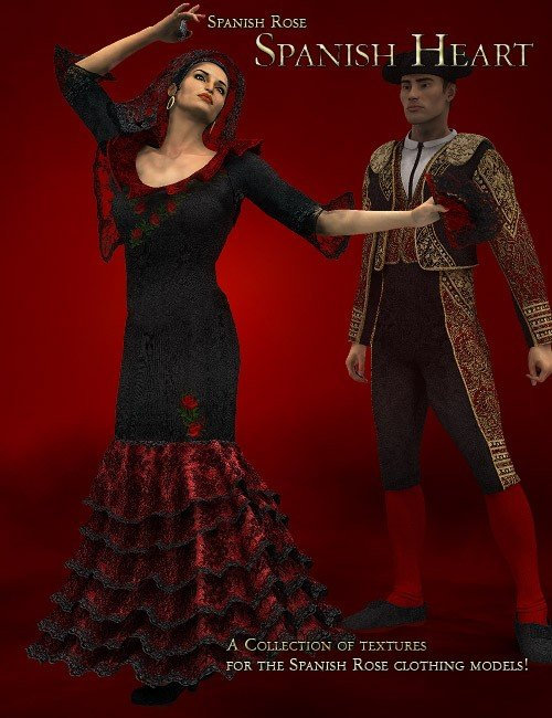Spanish Rose -- Spanish Heart by: LaurieS, 3D Models by Daz 3D