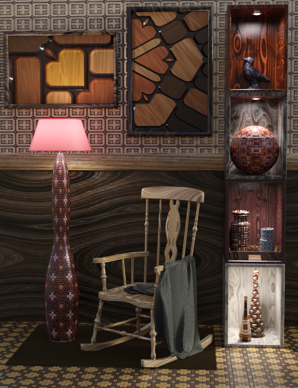 DG Iray Deco Wood Shaders by: IDG DesignsDestinysGarden, 3D Models by Daz 3D