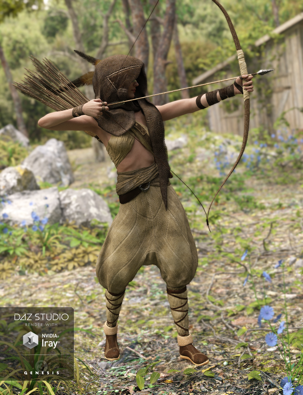 Hood Huntress Collection for Genesis 3 Female(s) by: Didier, 3D Models by Daz 3D
