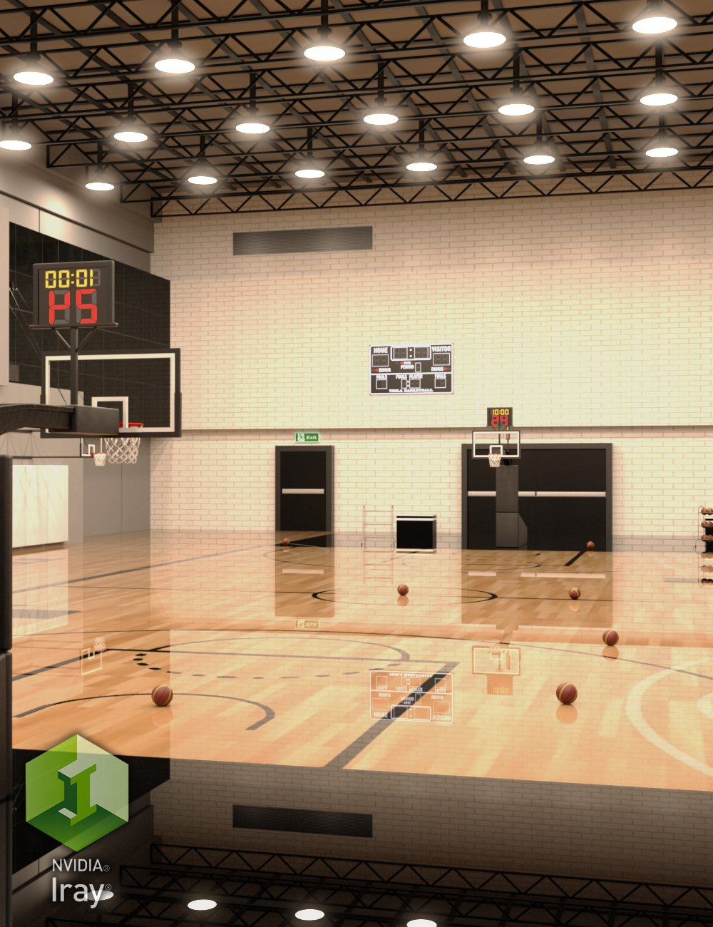 Basketball Practice Court by: Tesla3dCorp, 3D Models by Daz 3D