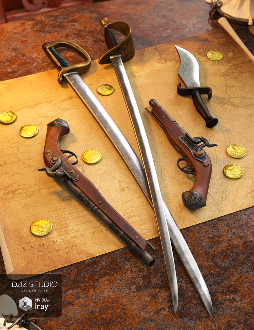 Pirate Weapons for Genesis 3 and 8 Male(s) and Female(s) by: Val3dart, 3D Models by Daz 3D
