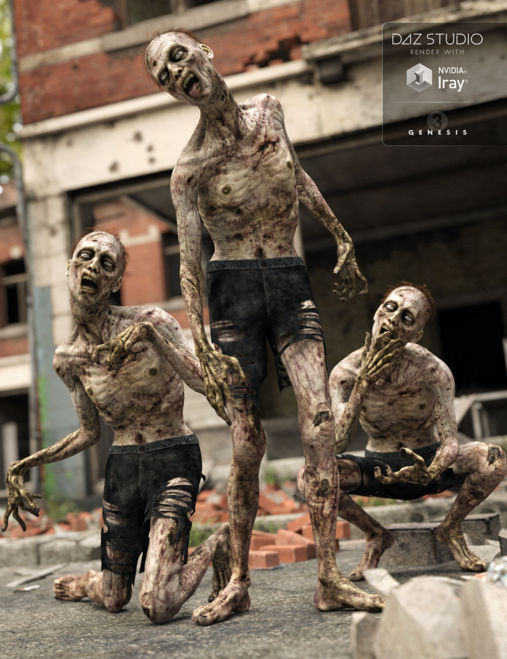 Capsces Living Dead Poses and Expressions for Markus Zombie by: Capsces Digital Ink, 3D Models by Daz 3D