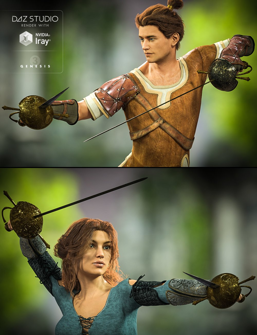 Cazoleta Swords and Poses for Genesis 3 Male(s) and Female(s) by: Didier, 3D Models by Daz 3D