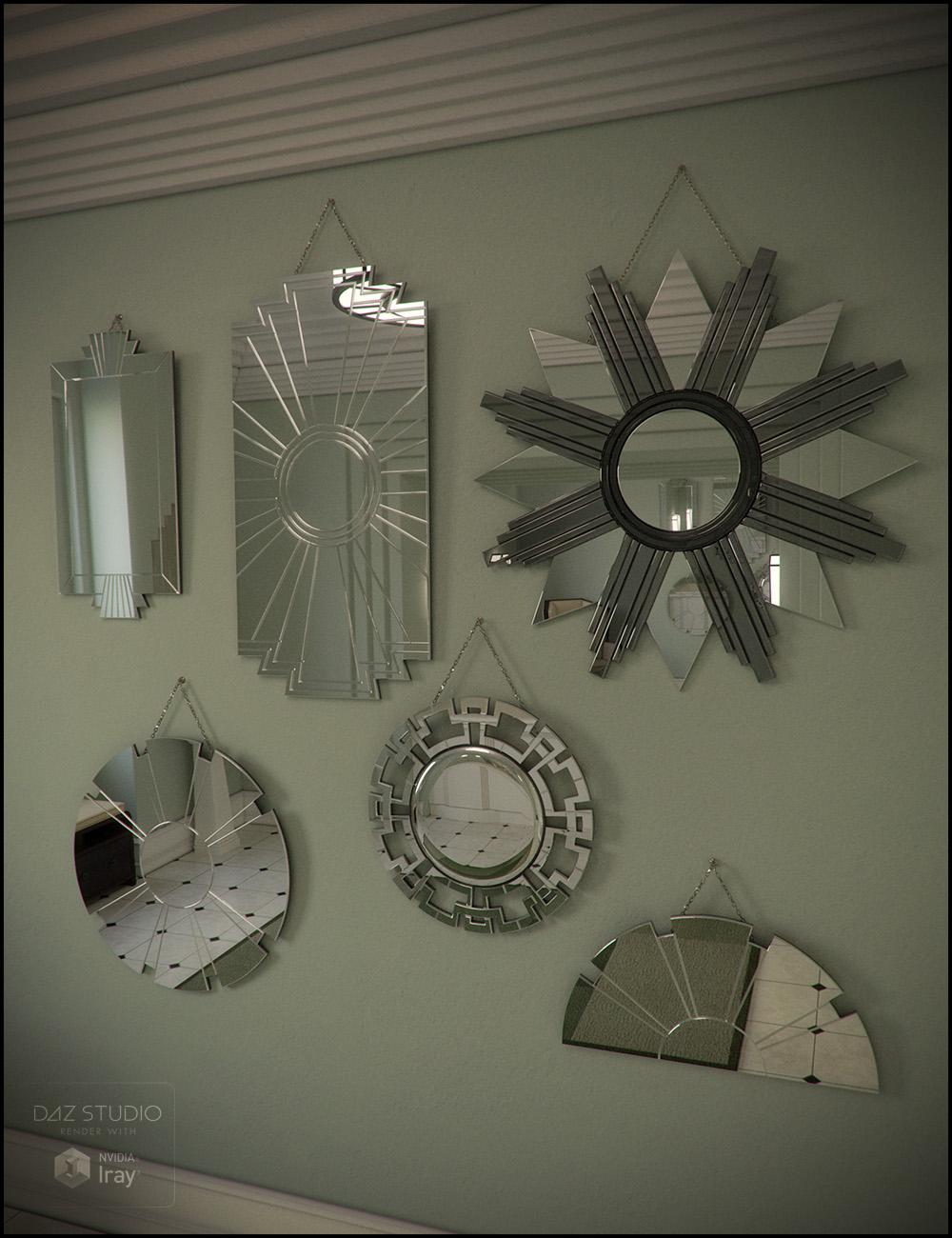Deco Mirror Set by: Jack Tomalin, 3D Models by Daz 3D