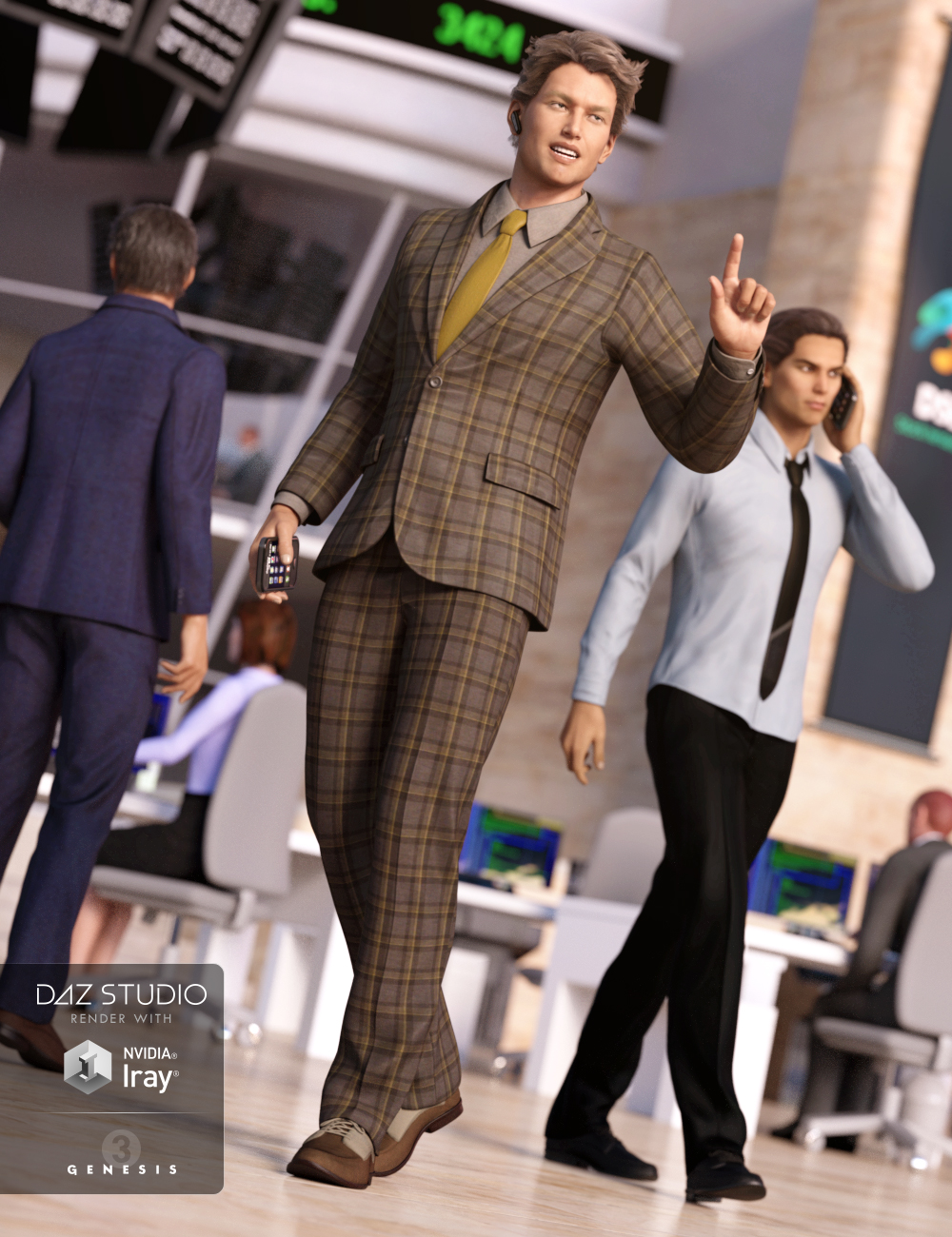 Trading Floor Outfit for Genesis 3 Male(s) by: LuthbellinaMada, 3D Models by Daz 3D