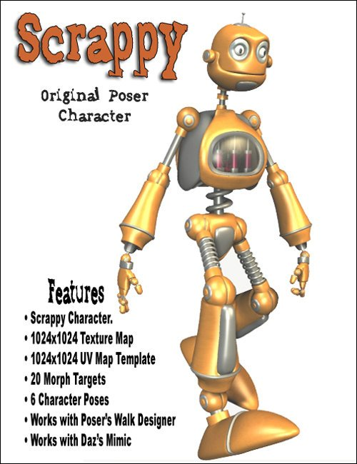Scrappy the Robot by: , 3D Models by Daz 3D