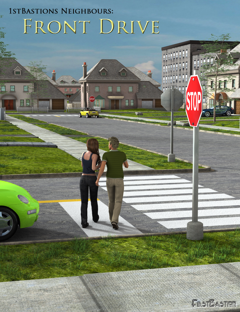 1stBastions Neighbours: Front Drive by: FirstBastion, 3D Models by Daz 3D