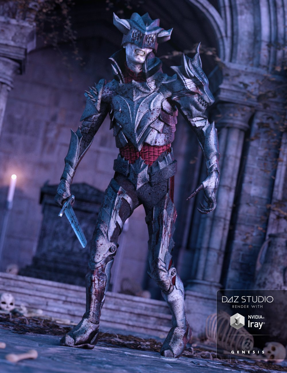 Death Knight Armor for Genesis 3 Male(s) by: ForbiddenWhispersMada, 3D Models by Daz 3D