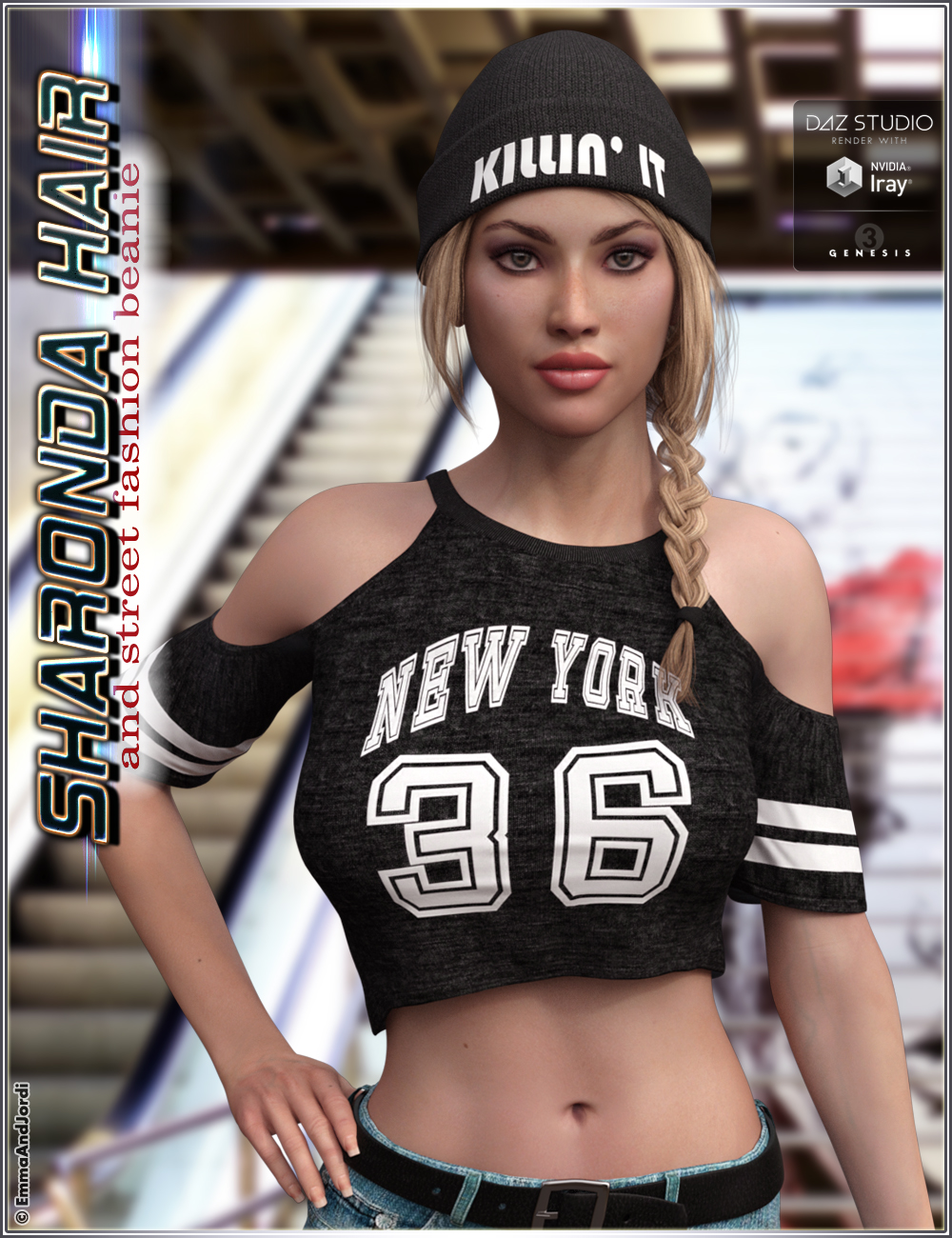 Sharonda Hair and Street Fashion Beanie for Genesis 3 Female(s) by: EmmaAndJordi, 3D Models by Daz 3D