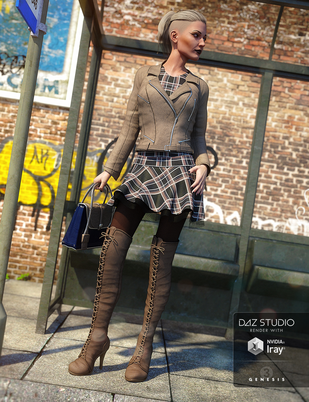 Moto Girl Outfit for Genesis 3 Female(s) by: Barbara BrundonLuthbellinaUmblefugly, 3D Models by Daz 3D