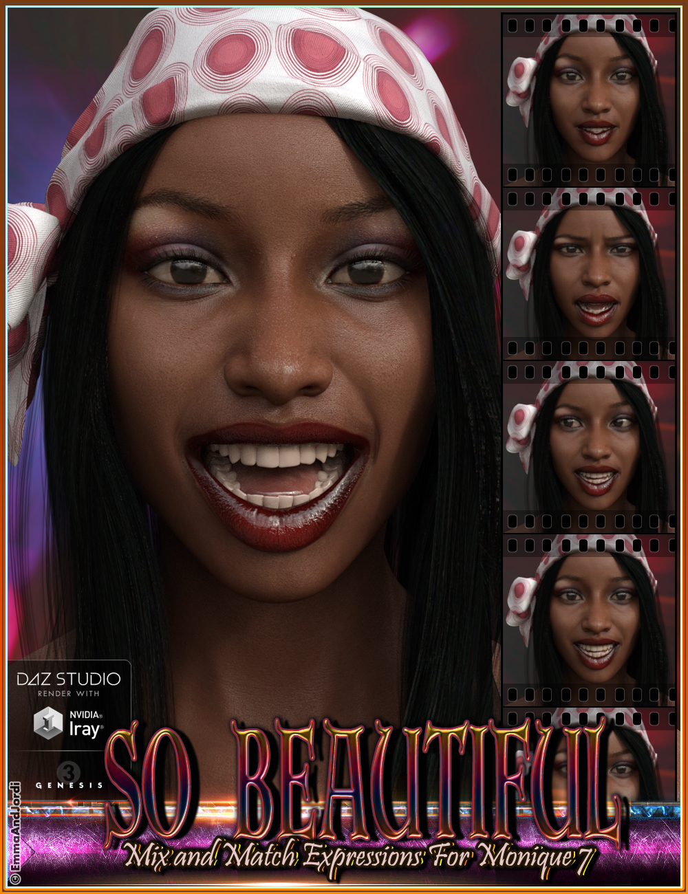 So Beautiful Mix and Match Expressions for Monique 7 and Genesis 3 Female(s) by: EmmaAndJordi, 3D Models by Daz 3D