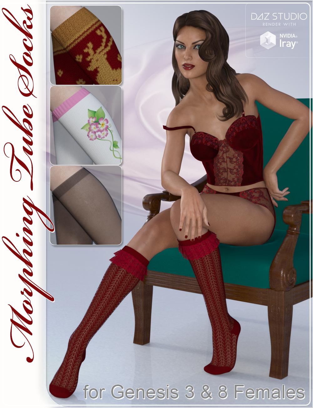 Tube Socks for Genesis 3 and Genesis 8 Female(s) by: CJ-Studio, 3D Models by Daz 3D