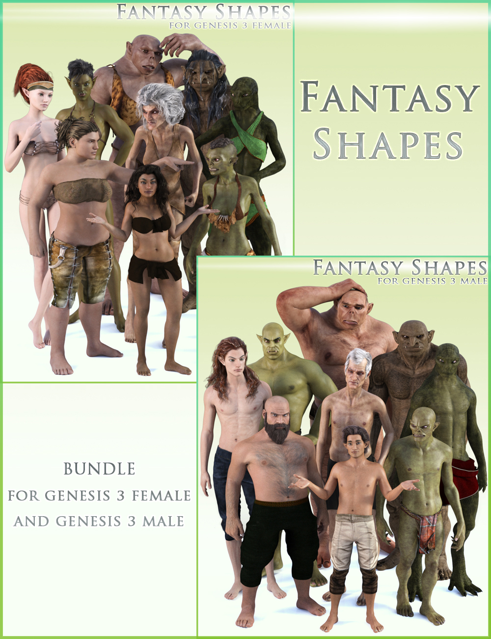 HFS Fantasy Shapes for Genesis 3 Bundle by: DarioFish, 3D Models by Daz 3D