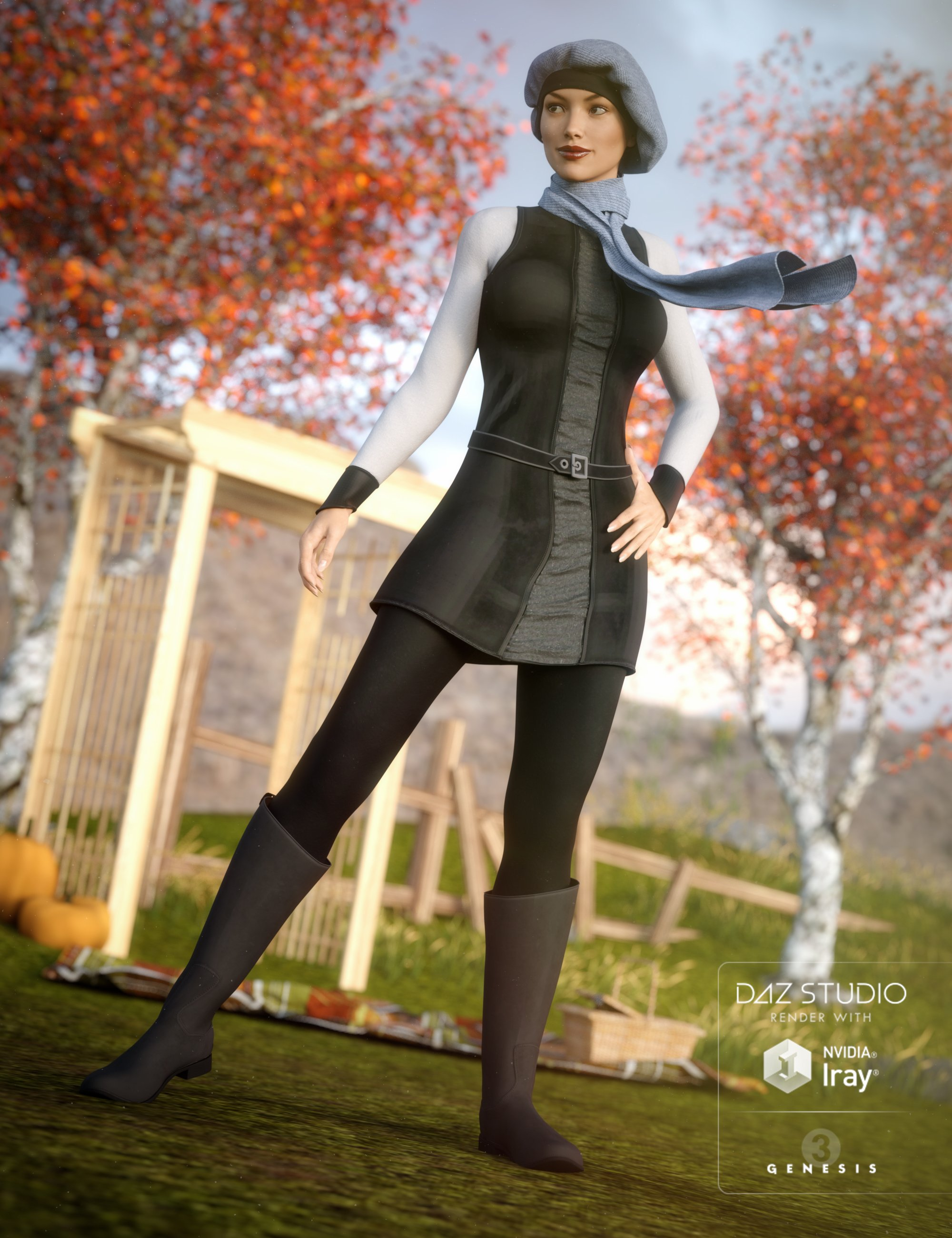 Autumn Chic Outfit for Genesis 3 Female(s) by: , 3D Models by Daz 3D