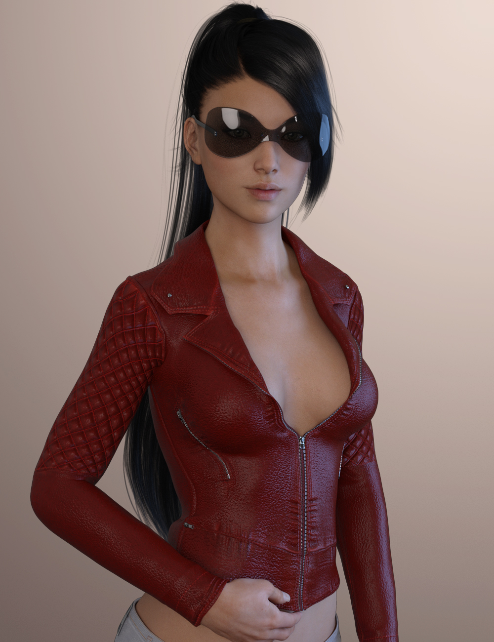 X-Fashion Leather Jacket for Genesis 3 Female(s) by: xtrart-3d, 3D Models by Daz 3D