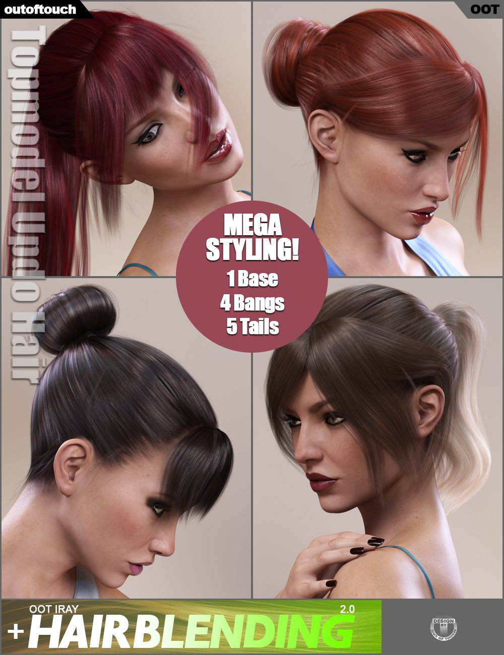 Topmodel Updo Hair and OOT Hairblending 2.0 for Genesis 3 Female(s) by: outoftouch, 3D Models by Daz 3D