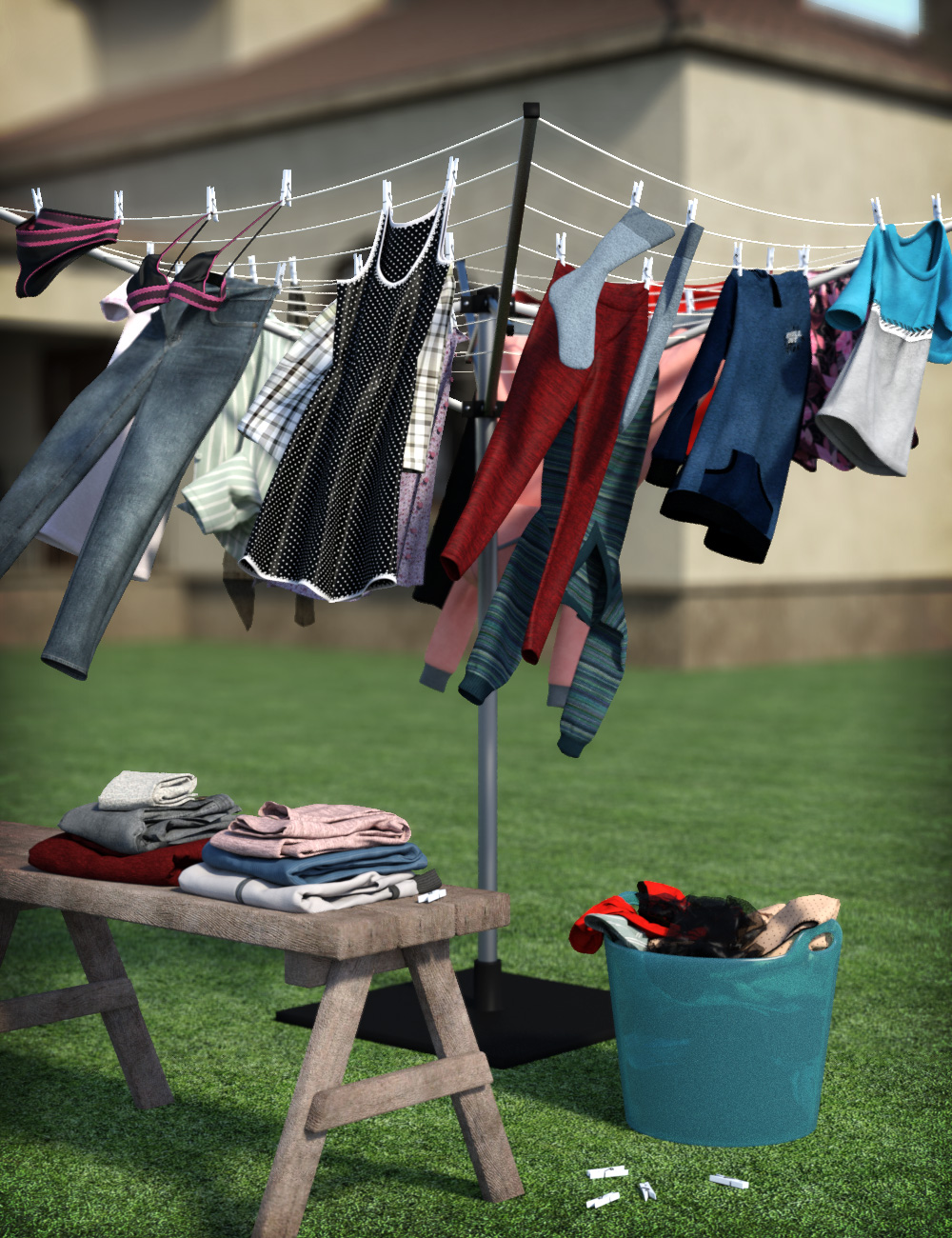 Laundry Day Mega Set by: esha, 3D Models by Daz 3D