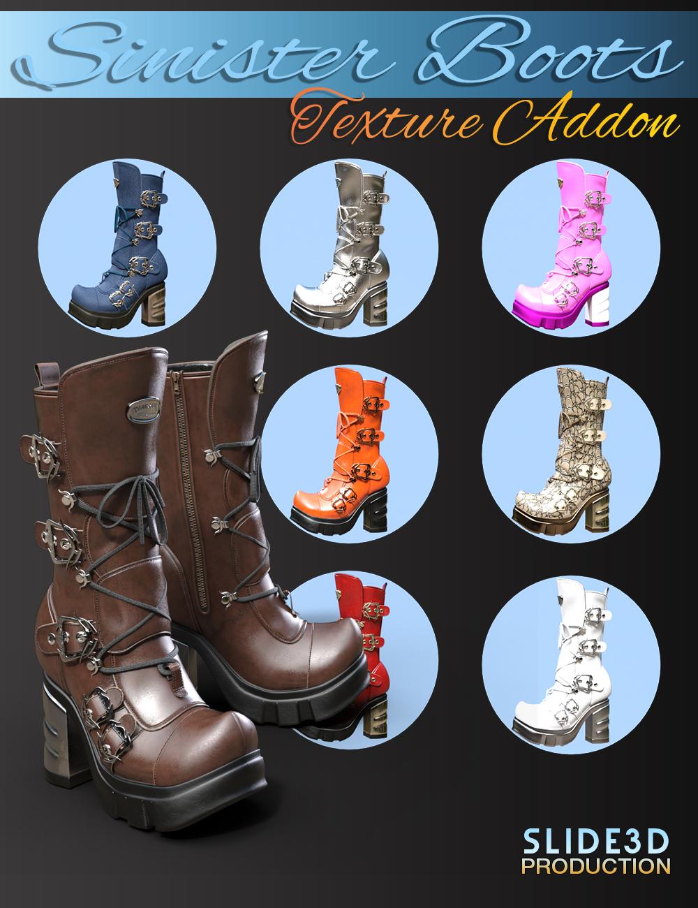 Slide3D Sinister Boots for Genesis 3 Female(s) Texture Addons by: Slide3D, 3D Models by Daz 3D