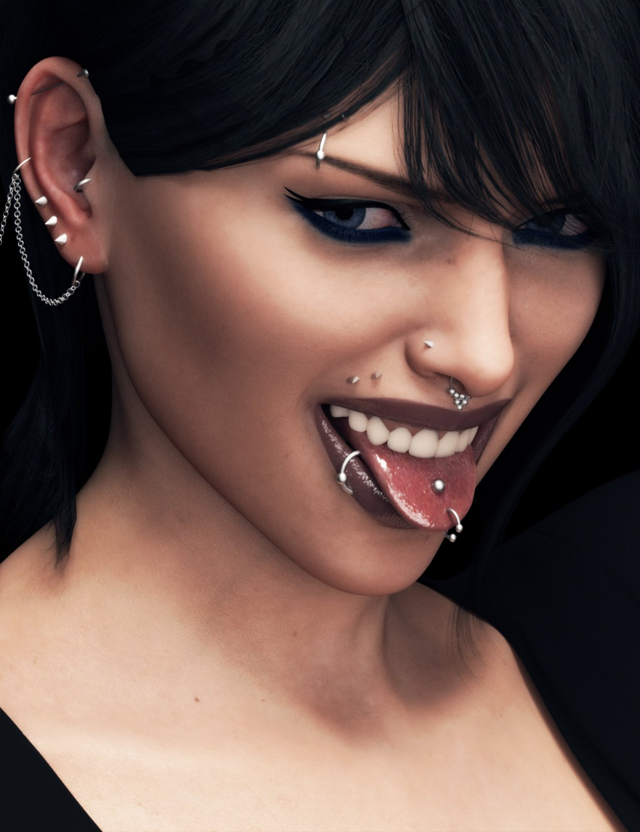 Piercing Collection by: Neikdian, 3D Models by Daz 3D