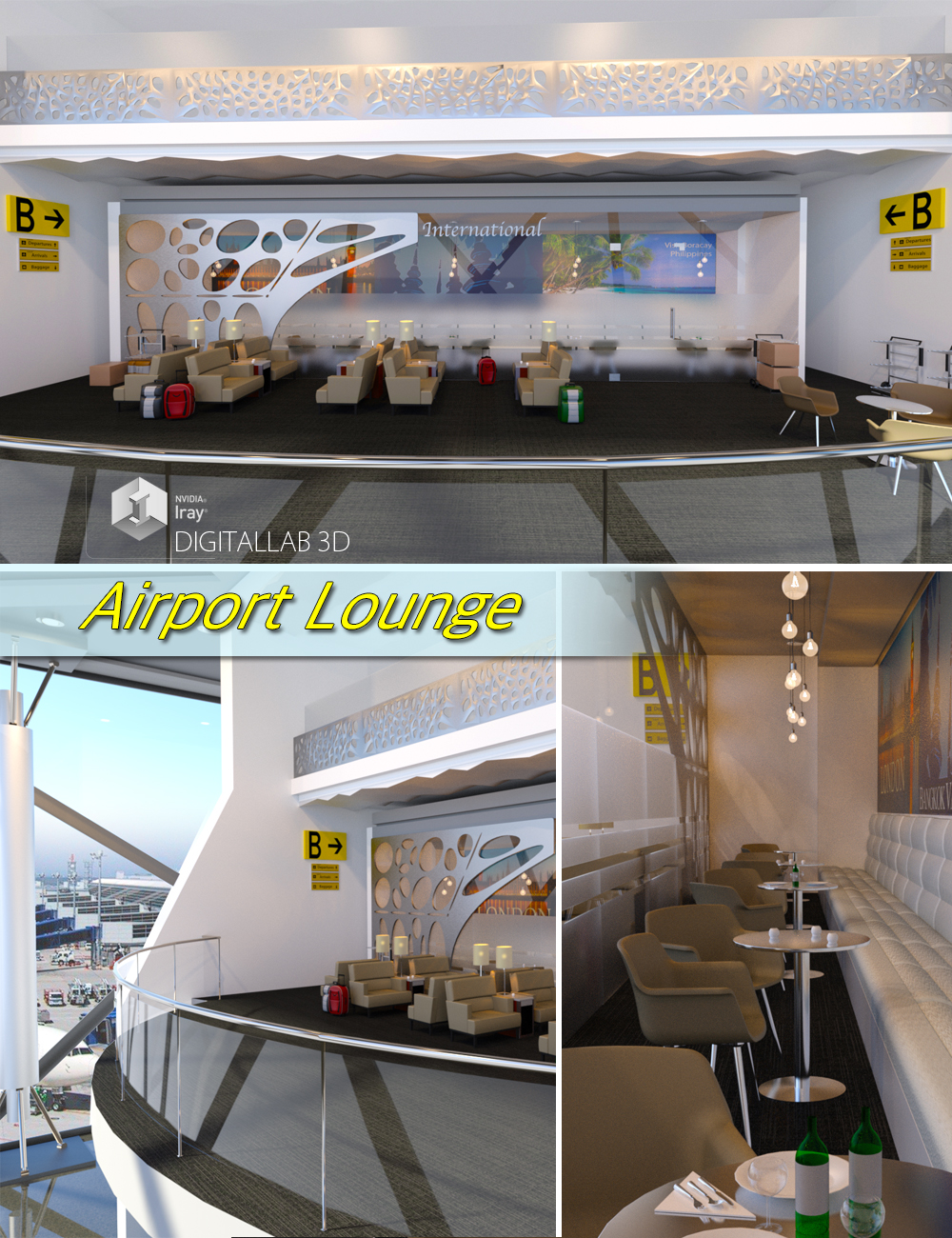 Airport Lounge by: Digitallab3D, 3D Models by Daz 3D