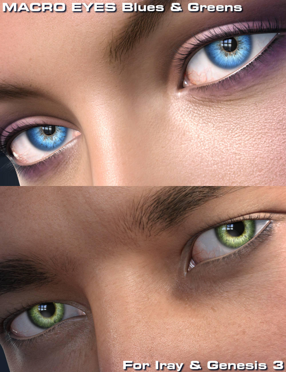 Macro Eyes for Iray Blues and Greens by: Parris, 3D Models by Daz 3D