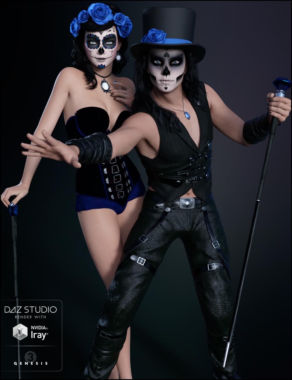 Sugar Skulls: Accessories by: JessaiiDemonicaEviliusTrickster3DX, 3D Models by Daz 3D