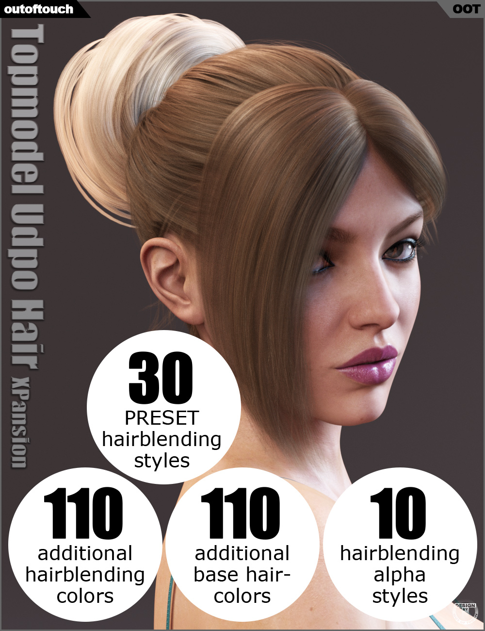 Topmodel Updo Hair and OOT Hairblending 2.0 Texture XPansion by: outoftouch, 3D Models by Daz 3D