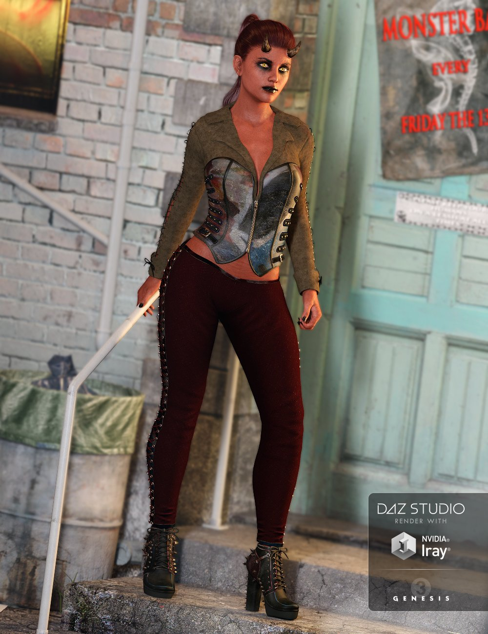 Wicked Ways Outfit for Genesis 3 Female(s) by: Anna BenjaminBarbara BrundonUmblefugly, 3D Models by Daz 3D