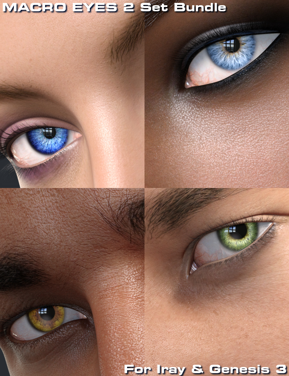 Macro Eyes for Iray Bundle by: Parris, 3D Models by Daz 3D