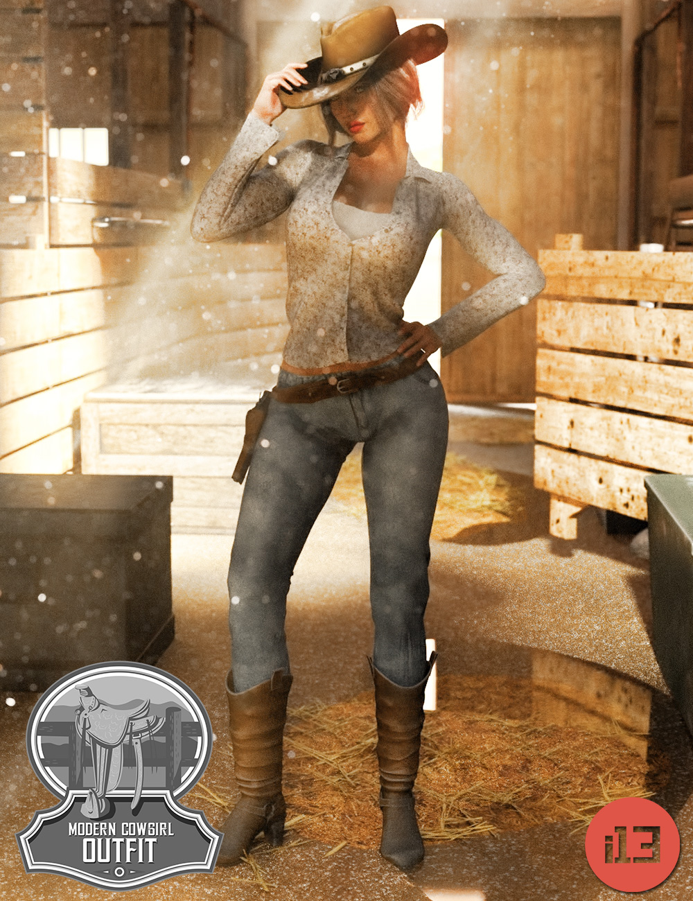 i13 Modern Cowgirl Outfit for the Genesis 3 Female(s) by: ironman13, 3D Models by Daz 3D
