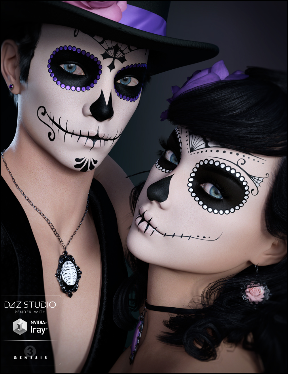 Sugar Skulls Bundle - Characters, Accessories and Poses by: JessaiiDemonicaEviliuslunchladyTrickster3DX, 3D Models by Daz 3D