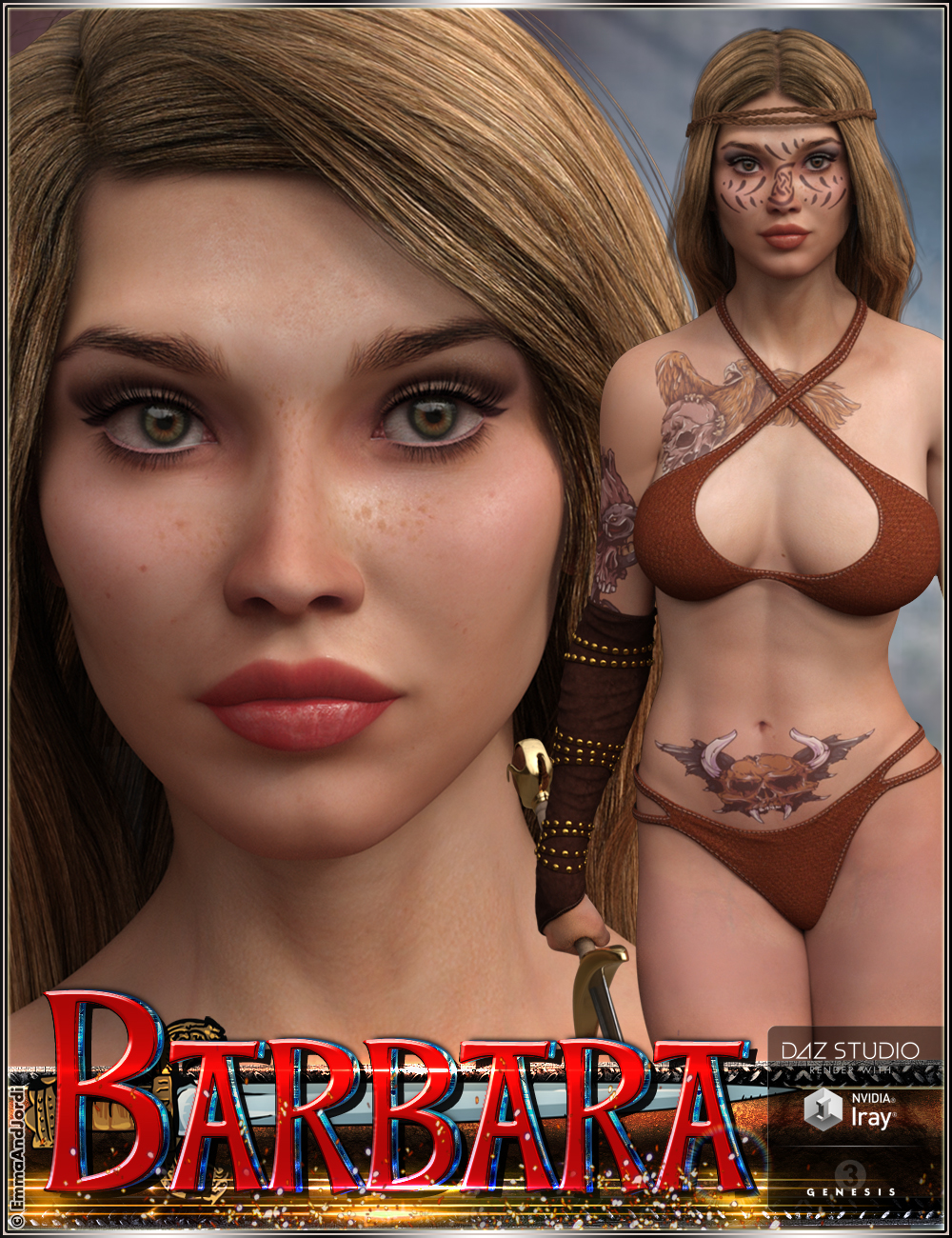 EJ Barbara for Genesis 3 Female(s) by: EmmaAndJordi, 3D Models by Daz 3D