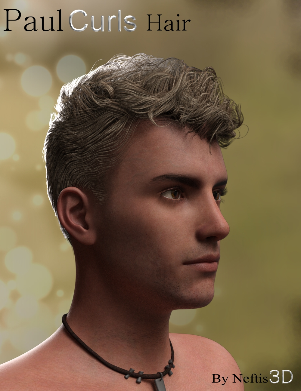 Paul Curls Hairstyle for Genesis 3 Male(s) by: Neftis3D, 3D Models by Daz 3D