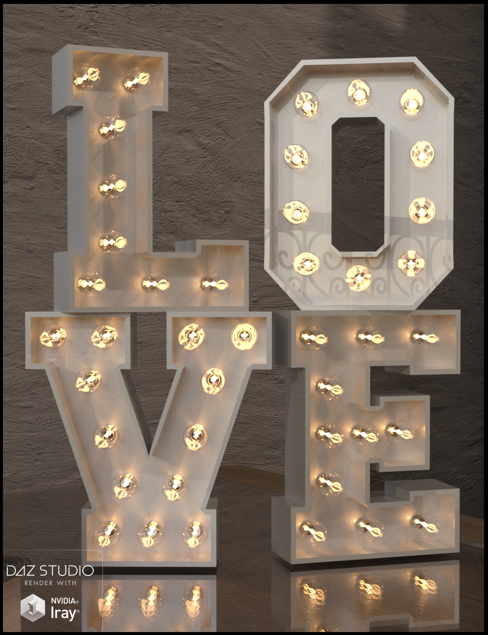 Alphabet and Number Props with Lights for Iray by: Nikisatez, 3D Models by Daz 3D