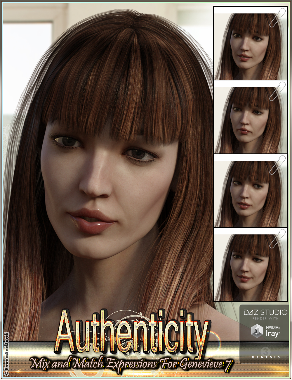 Authenticity Mix and Match Expressions for Genevieve 7 and Genesis 3 Female(s) by: EmmaAndJordi, 3D Models by Daz 3D