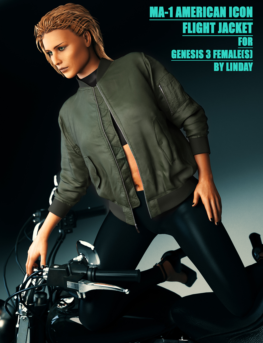MA-1 Flight Jacket for Genesis 3 Female(s) by: Linday, 3D Models by Daz 3D