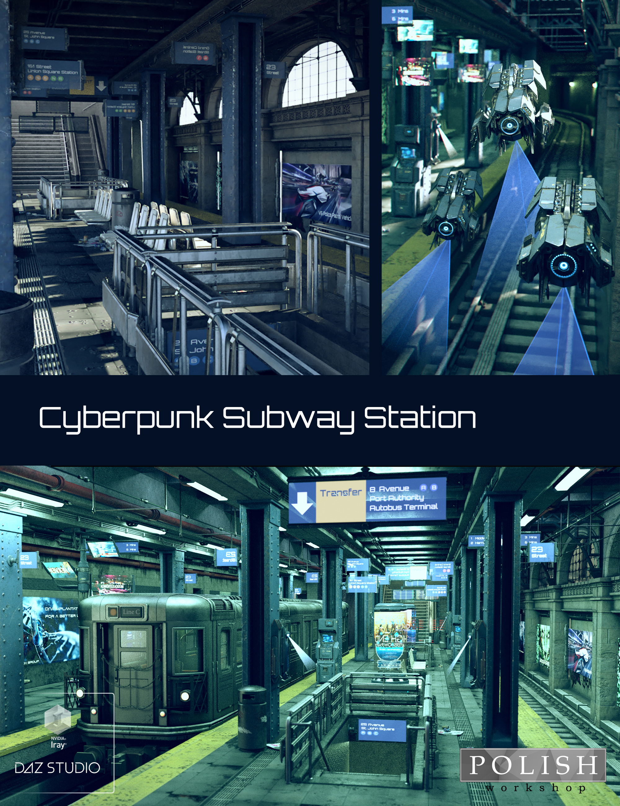 Cyberpunk Subway Station by: Polish, 3D Models by Daz 3D