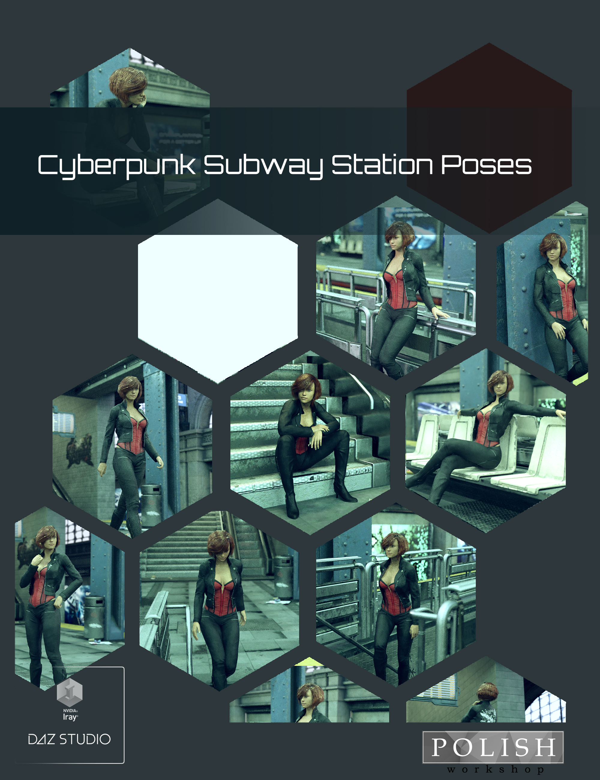 Cyberpunk Subway Station Poses by: Polish, 3D Models by Daz 3D
