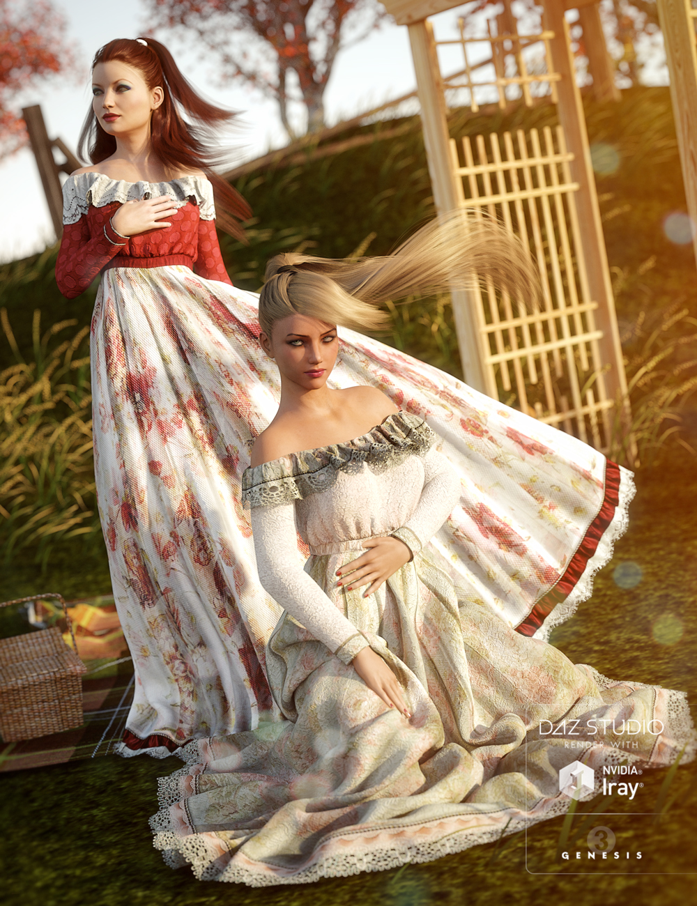 Garden Party for Belle Dress by: Sarsa, 3D Models by Daz 3D