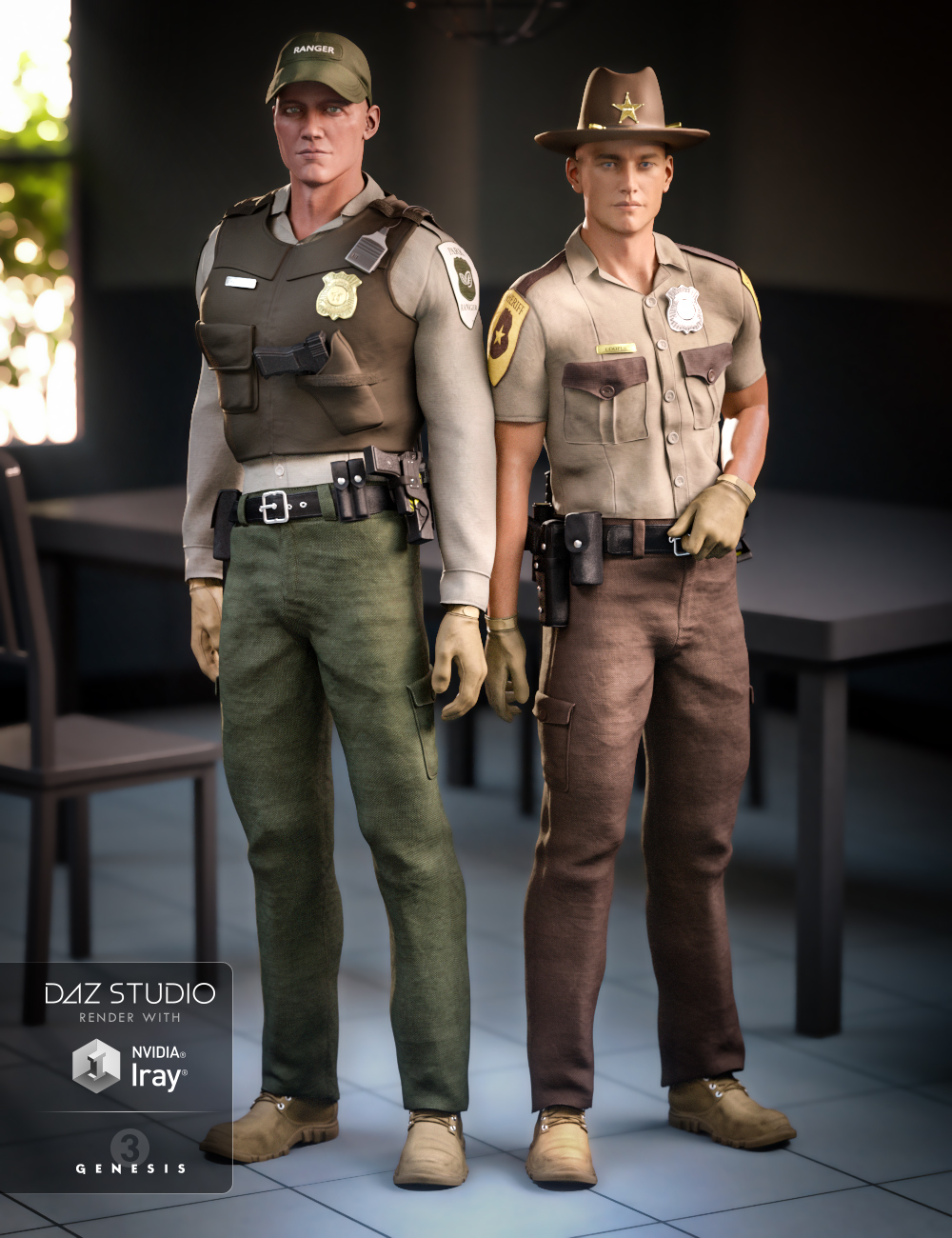Law Enforcement Outfits Textures for Genesis 2 and 3 Male(s) by: LuthbellinaRavenhair, 3D Models by Daz 3D