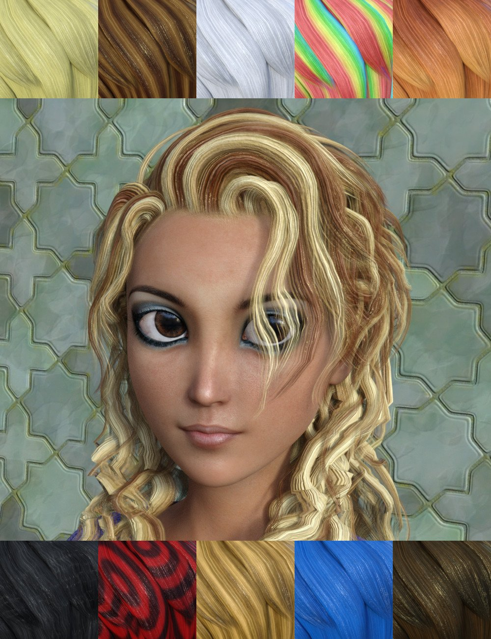 FSL Toon Hair Shaders Iray by: Fuseling, 3D Models by Daz 3D