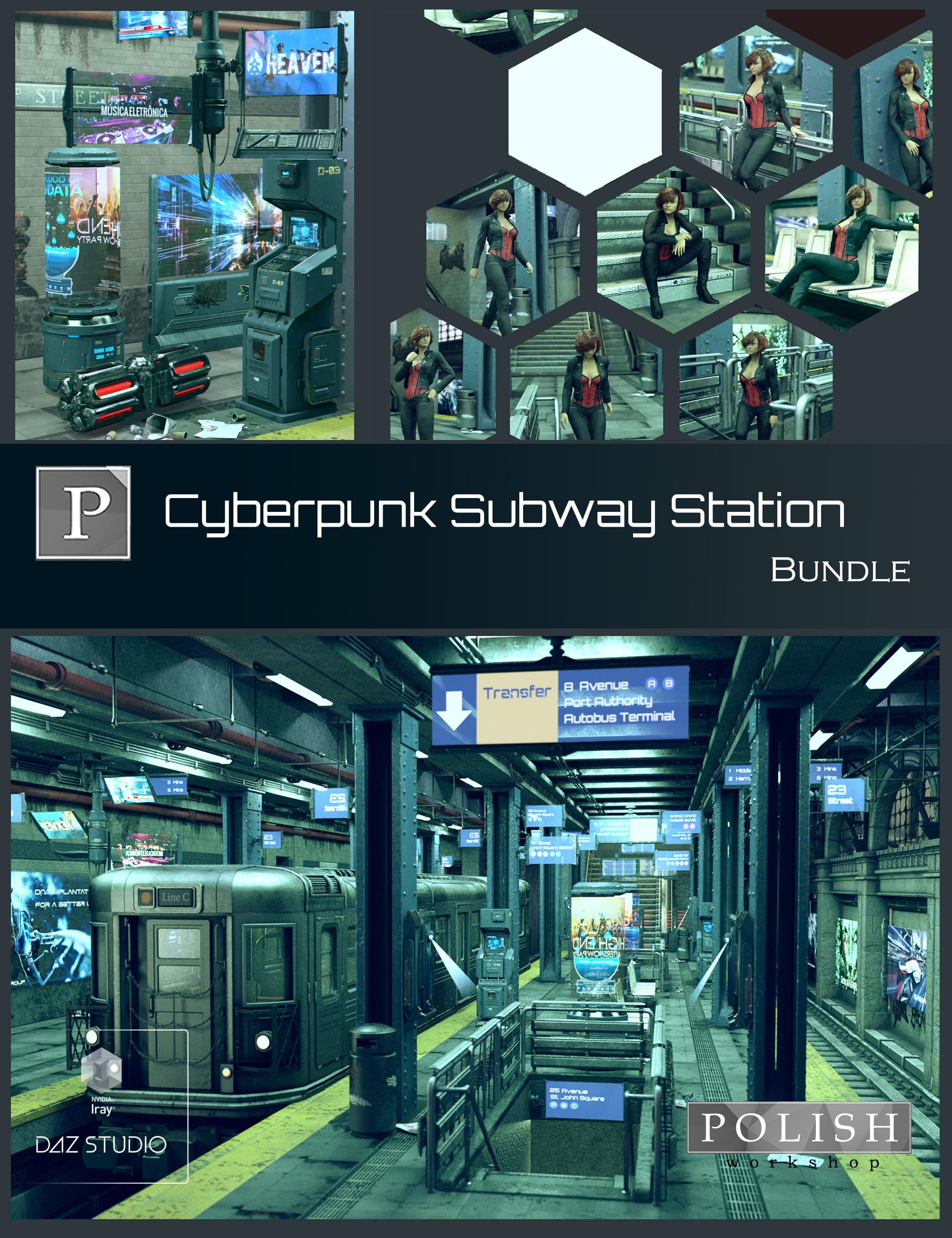 Cyberpunk Subway Station Bundle by: Polish, 3D Models by Daz 3D