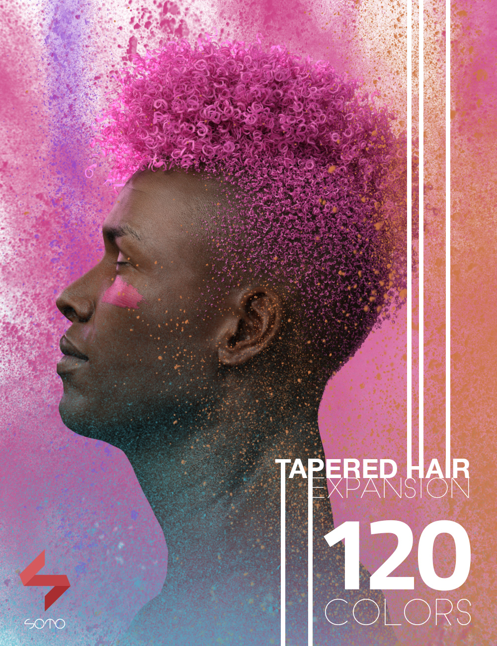 Tapered Hair Expansion for Genesis, Genesis 2, and Genesis 3 by: Soto, 3D Models by Daz 3D