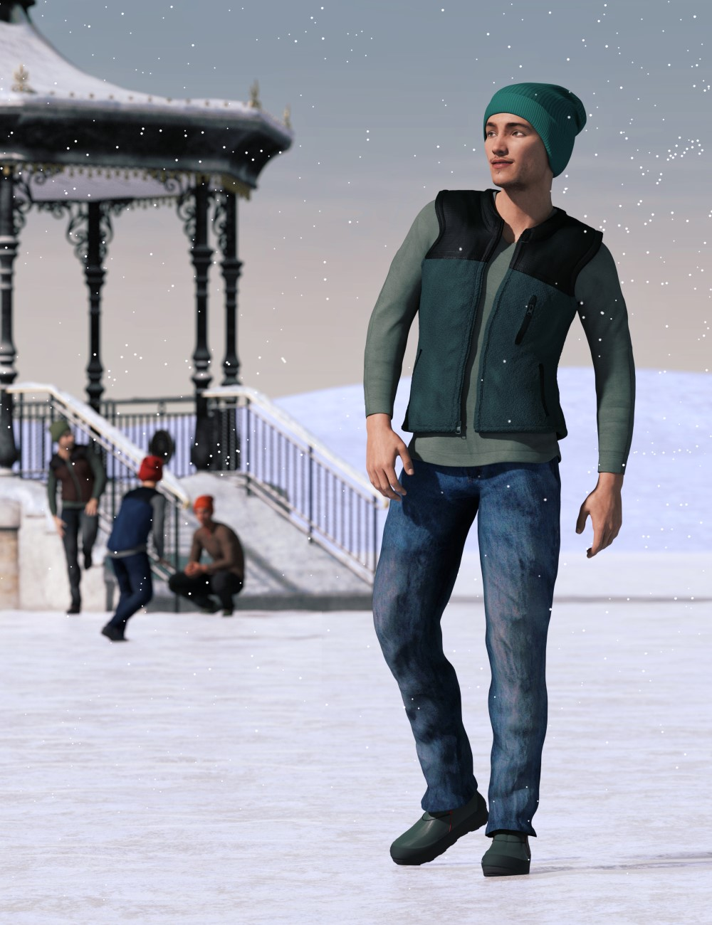 IJ Contemporary Winter Outfit for Genesis 3 Male(s) by: Inkara, 3D Models by Daz 3D