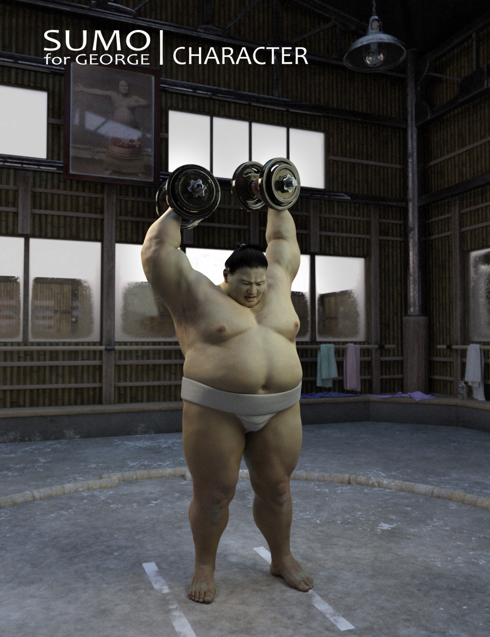 Sumo Character, Hair and Outfit for George and Genesis 3 Male by: Deepsea, 3D Models by Daz 3D