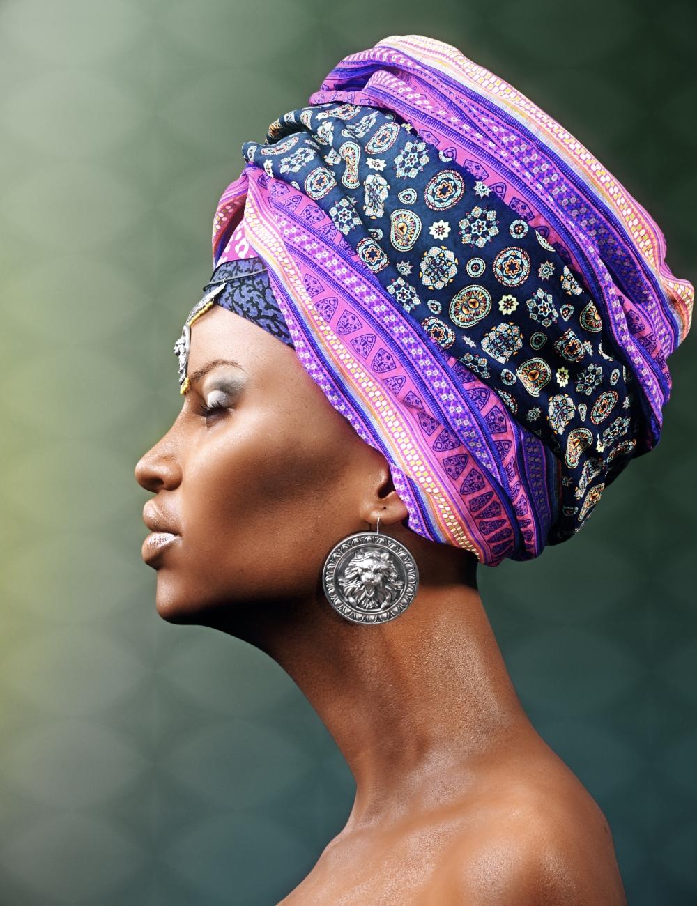 African Headwear for Genesis 3 Female(s) by: Neikdian, 3D Models by Daz 3D
