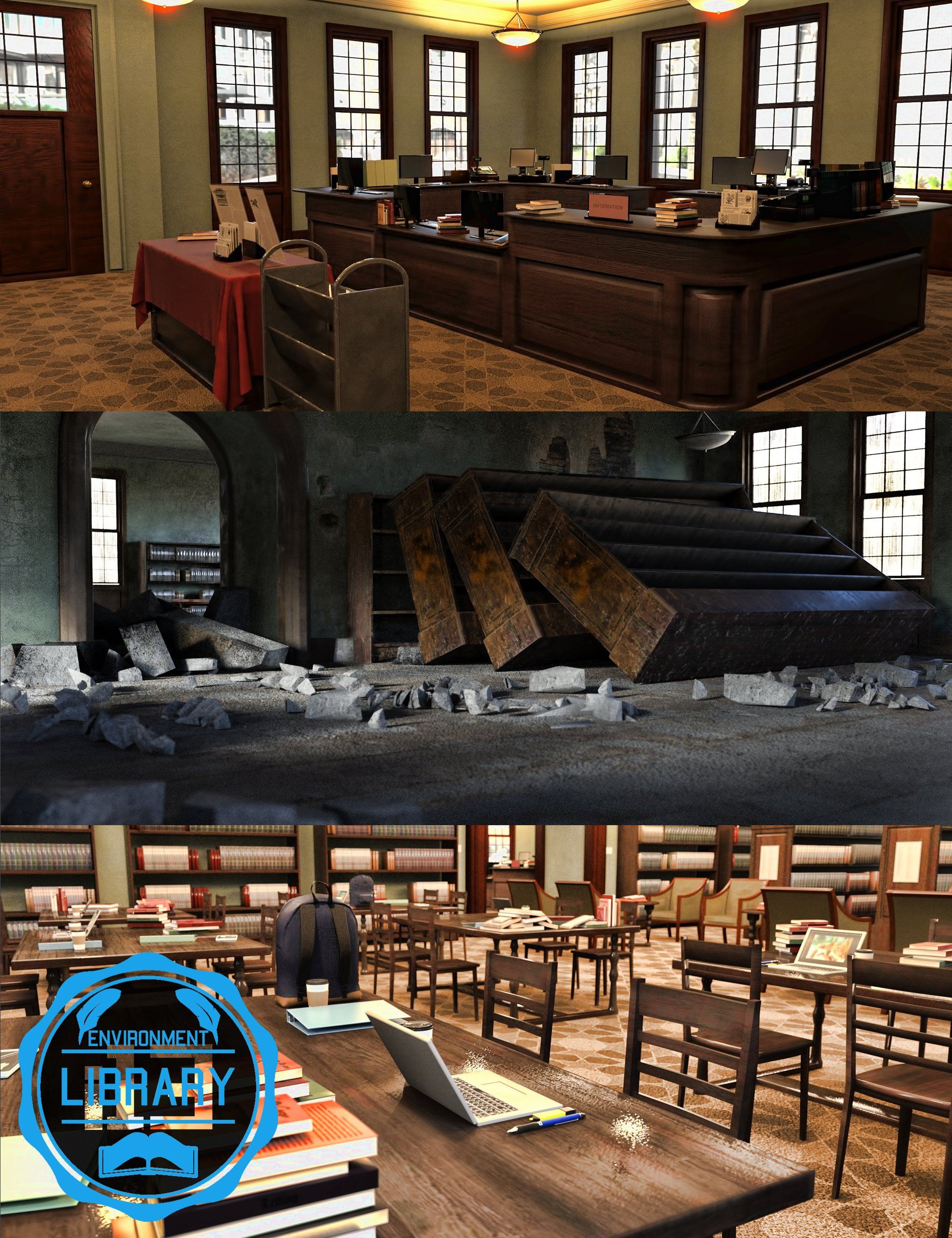 i13 Library Environment by: ironman13, 3D Models by Daz 3D
