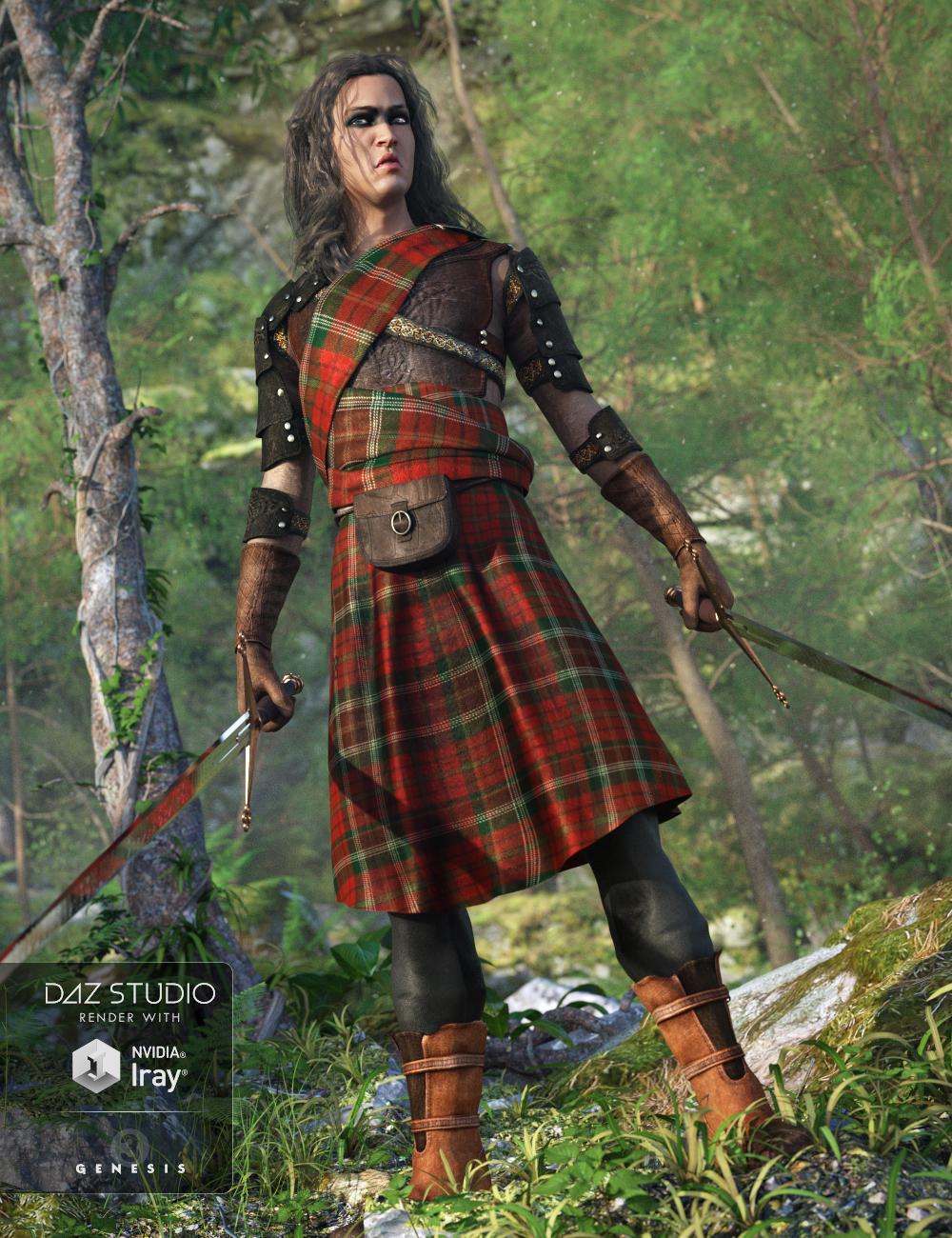 Highlander Outfit for Genesis 3 Male(s) by: Barbara BrundonUmblefugly, 3D Models by Daz 3D