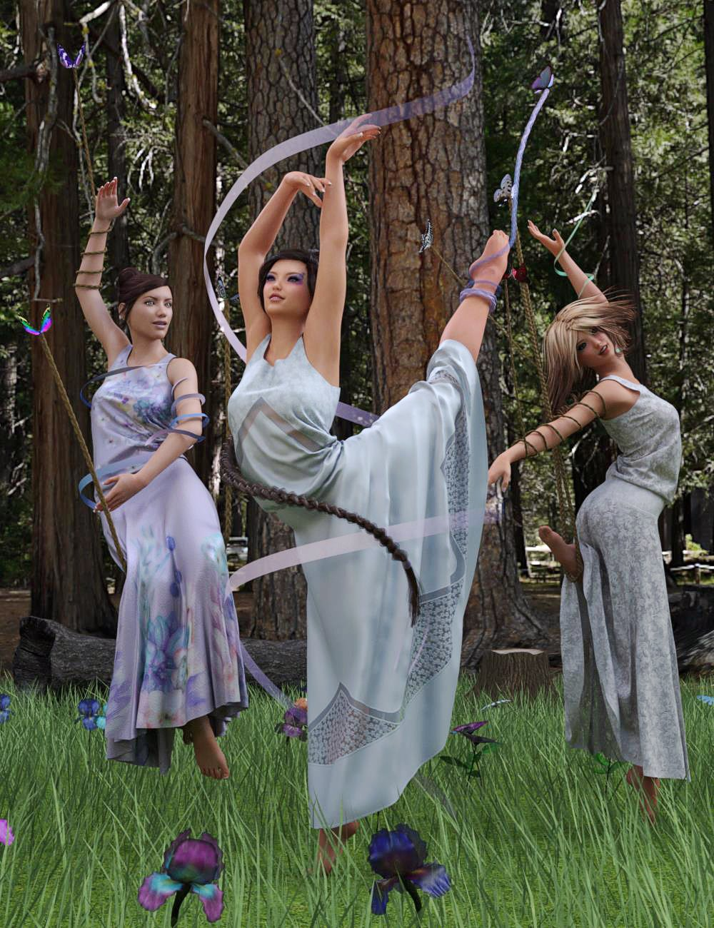 Dance of the Butterfly Poses and Props by: PandyGirlElliandra, 3D Models by Daz 3D