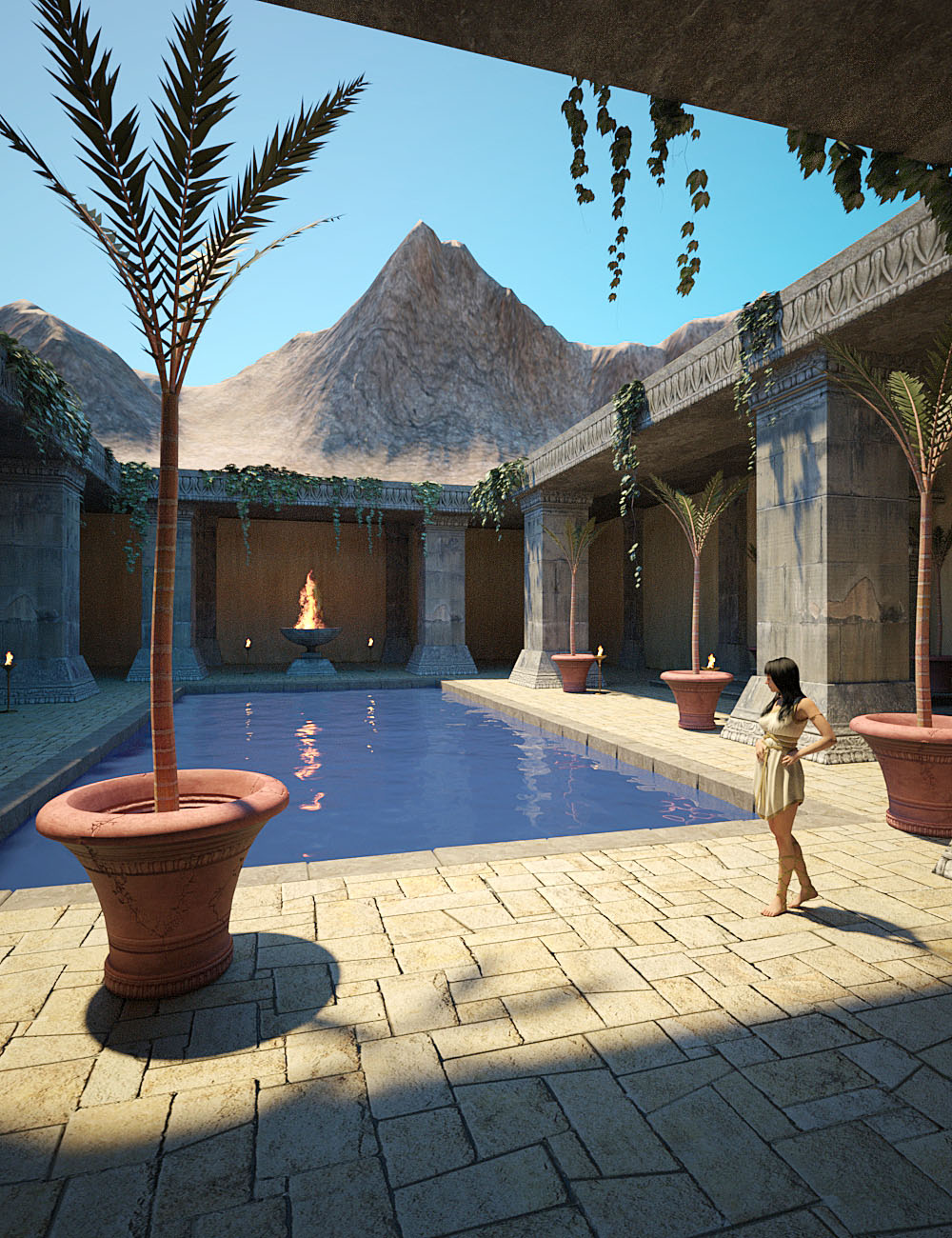 Ancient Temple Courtyard by: bitwelder, 3D Models by Daz 3D
